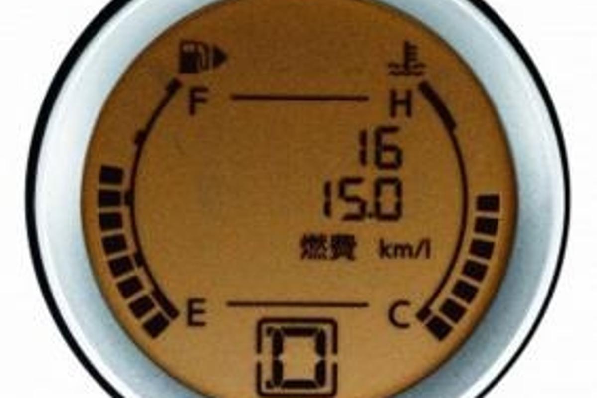 Instant fuel-efficiency gauge on the LAFESTA for Japan