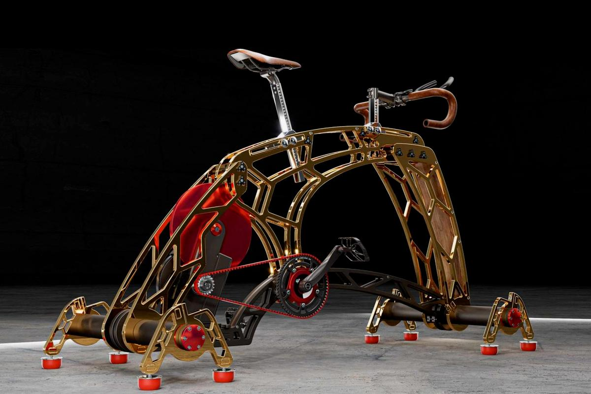 The RoyalBees.bike, seen here with a gold finish and an optional belt drive setup