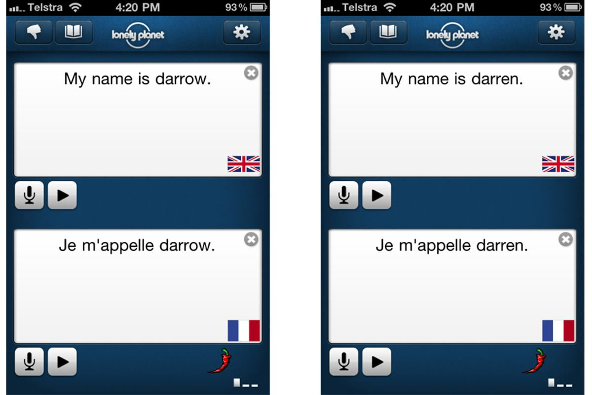 Entering names and places in the Lonely Planet Offline Translator helps the speech recognition accuracy