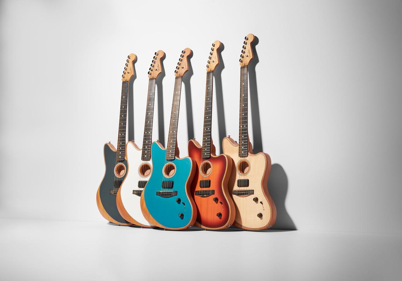 The five-finish range of the standard Acoustasonic Jazzmaster guitars