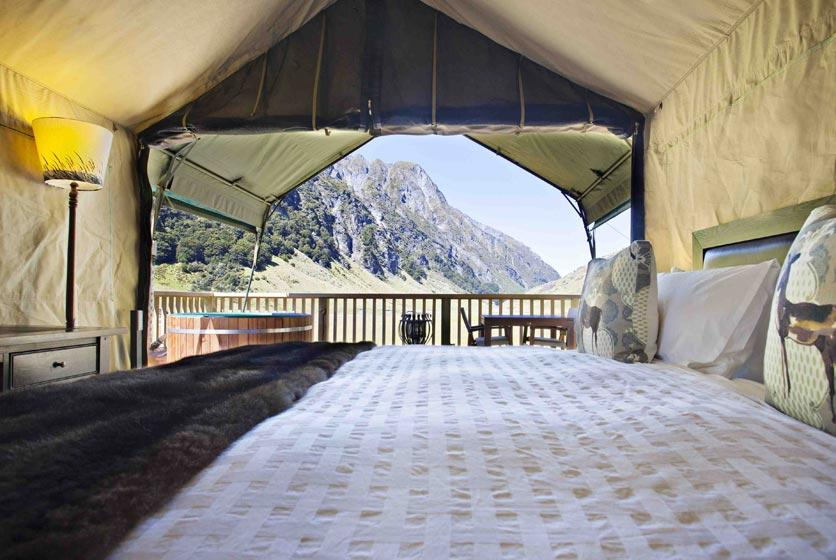 Minaret Station offers luxury glamping in the heart of the Southern Alps in New Zealand