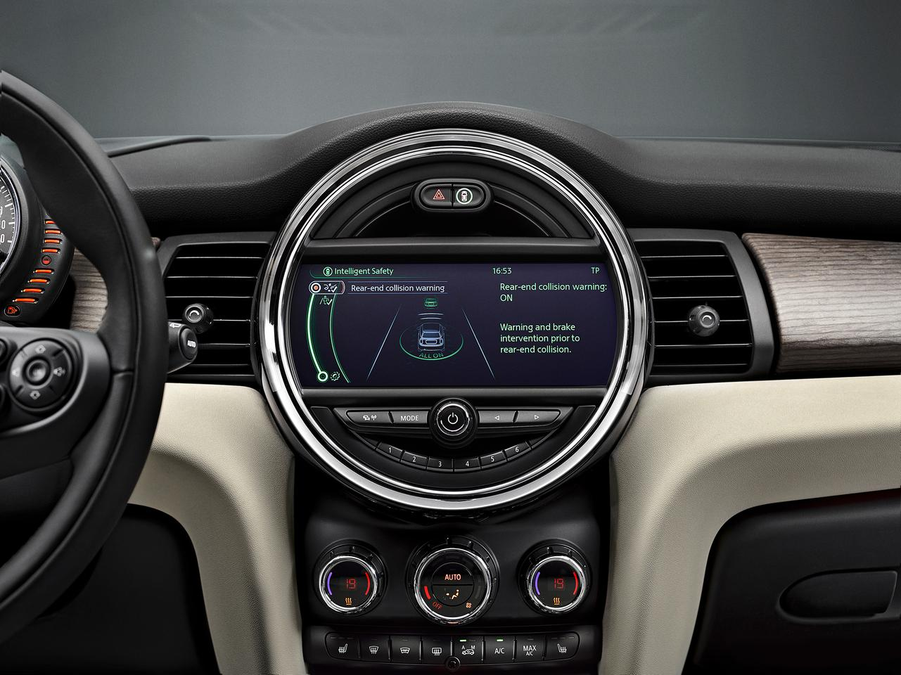 Rear-end collision warning with city braking function