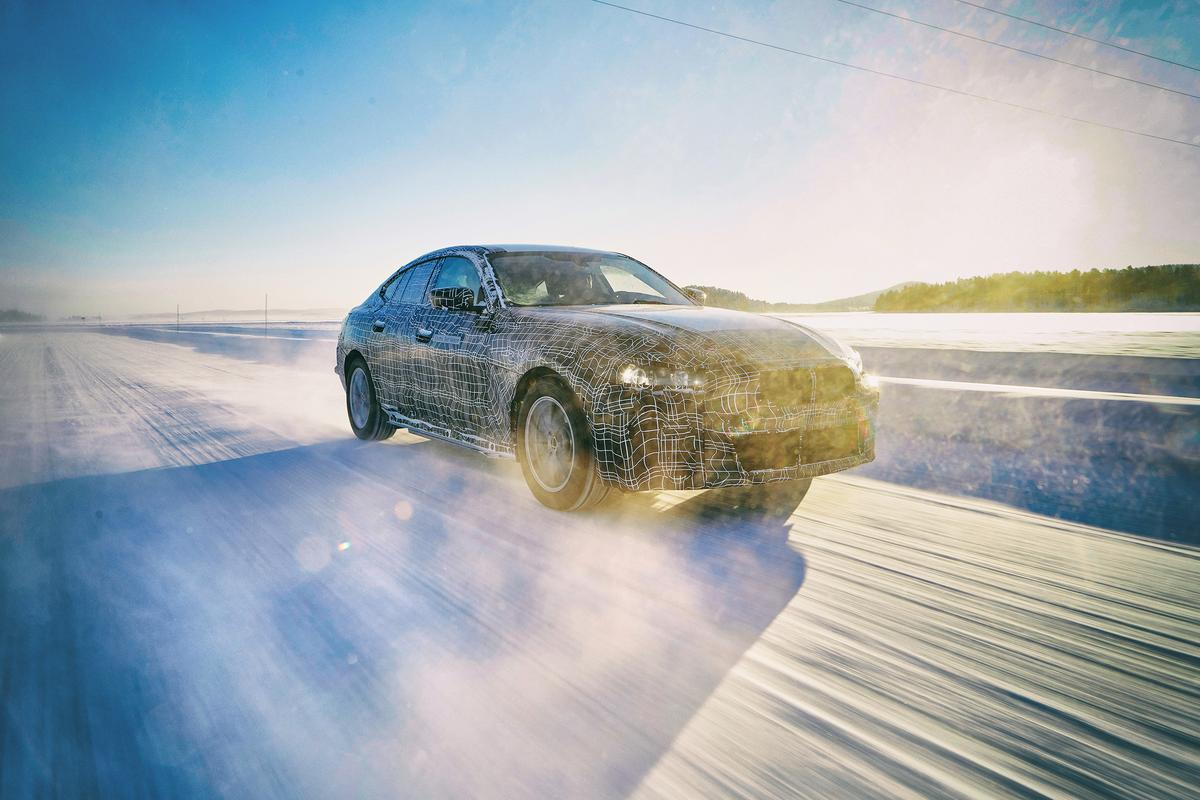 The BMW i4 prototype proves its mettle on snow and ice