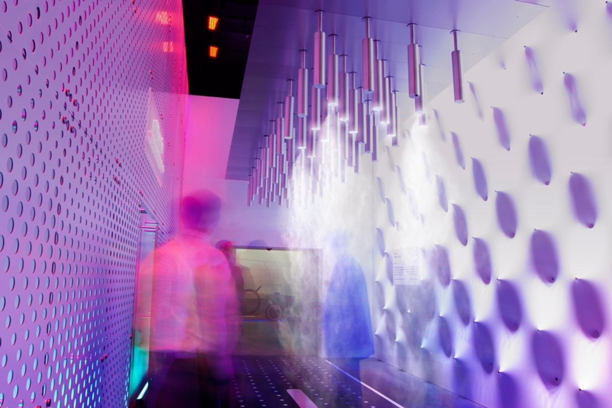 Carlo Ratti Associati's Personal Cloud detects when individuals walk below it and sprays them with cooling mist (Photo: Pietro Leoni)