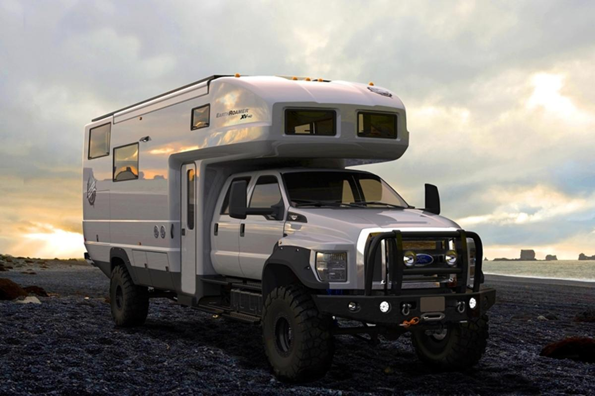 The EarthRoamer XV-HD is based on a four-wheel-drive Ford F-650 and is powered by a 6.7 L PowerStroke Diesel engine