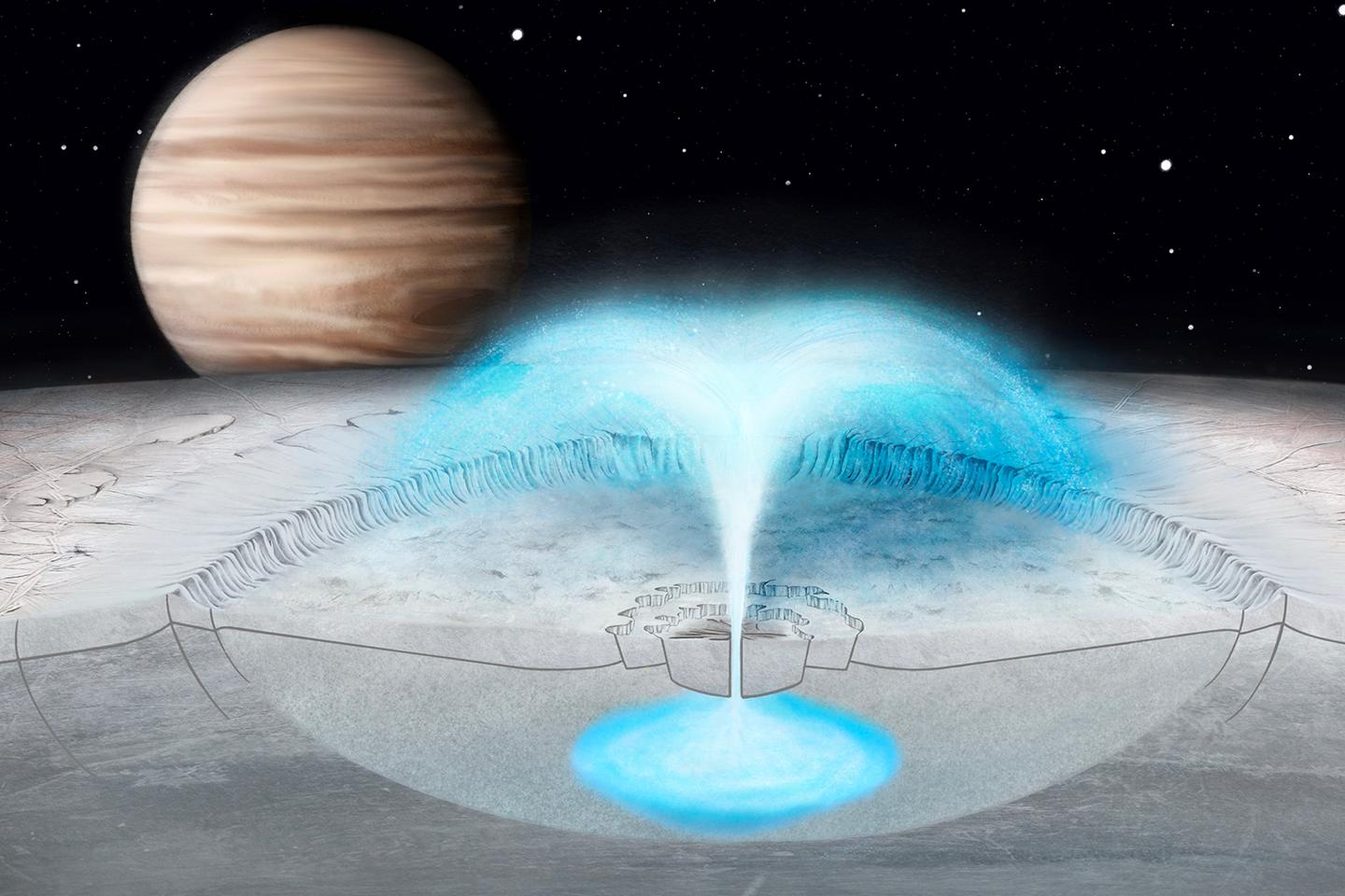 An artist's representation of a plume erupting from a shallow pocket of briny water below the icy surface of Europa