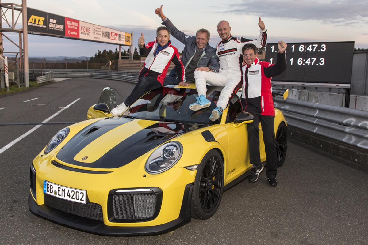 A jubilant Porsche team at the Nurburgring