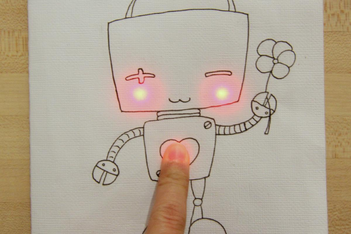 Chibitronic stickets lets you add circuitry to art projects creating an interactive greeting card that lights up