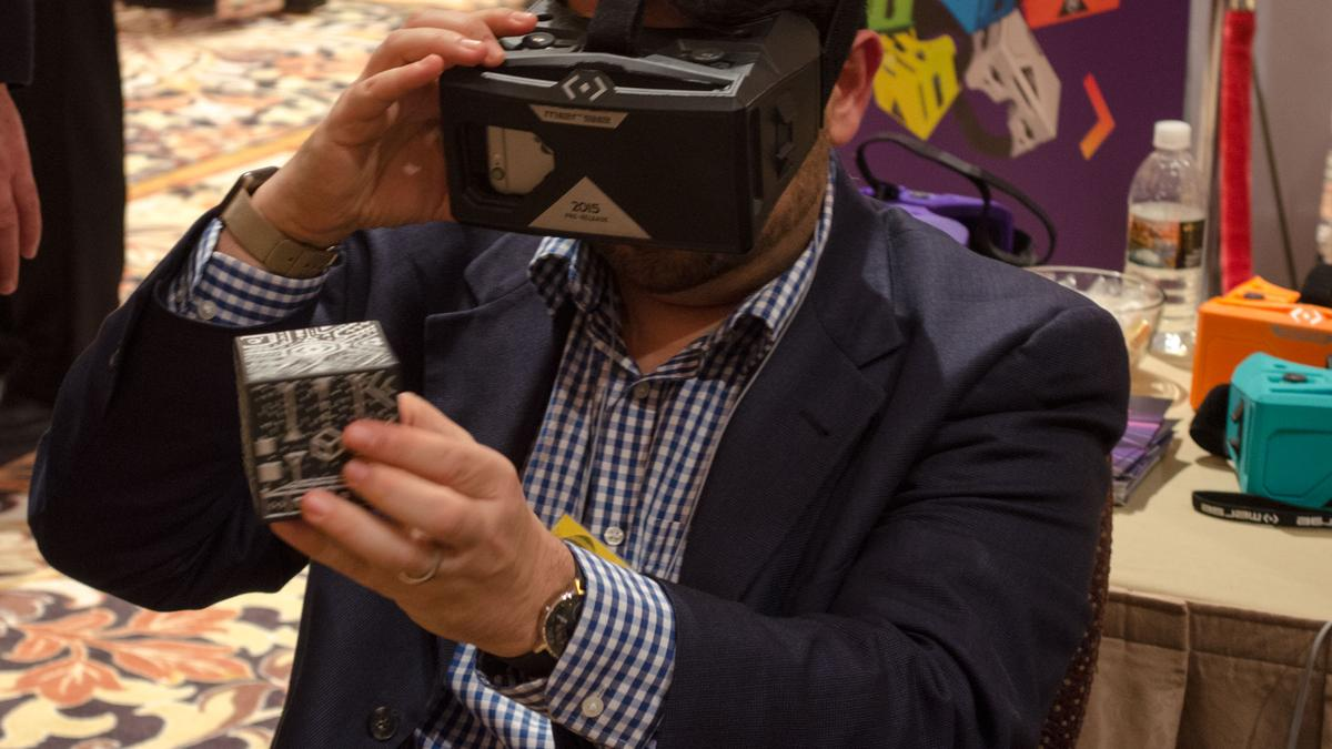 Examining the HoloCube from within the Merge VR headset