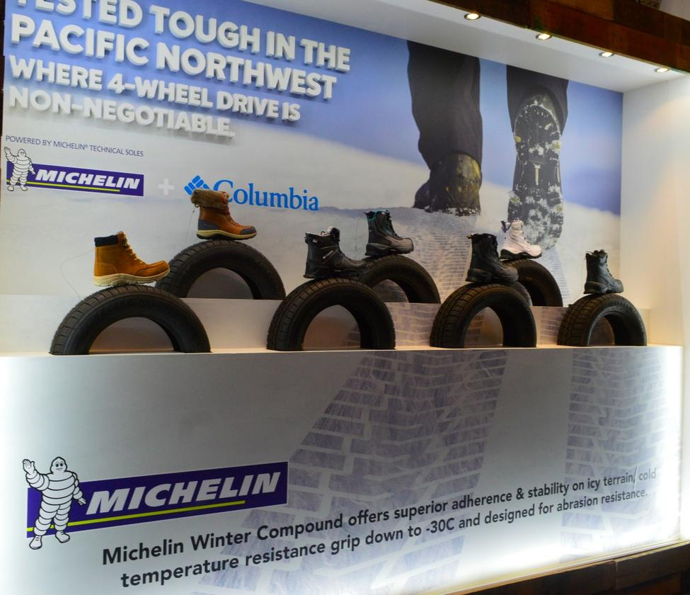 Tire rubber has become a big thing in the shoe market, with companies like Michelin and Continental turning their strong branding loose on rubber outsoles. Here, Columbia shows boots with Michelin Winter Compound
