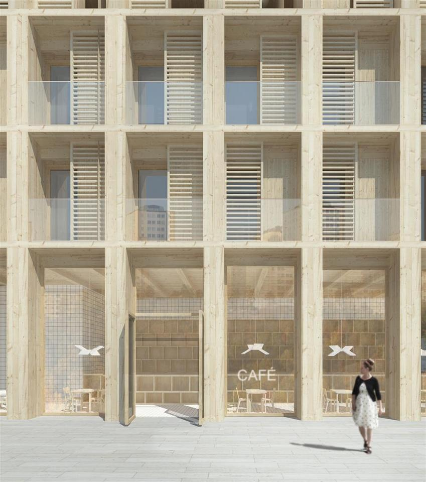 The high-rise buildings will be constructed entirely in Swedish solid wood, including the frame, facade, finishes and window frames (Image: Tham & Videgård Arkitekte)