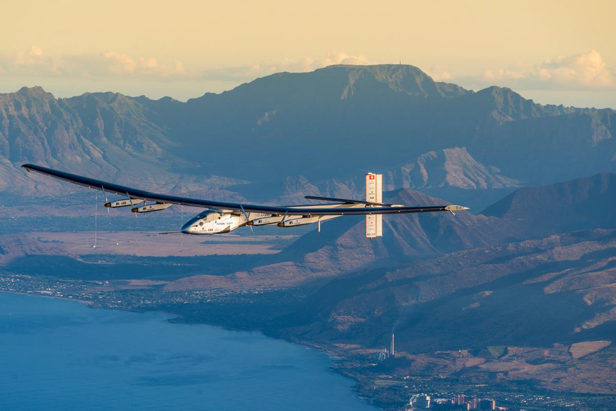 The Solar Impulse 2 takes to the skies over Hawaii