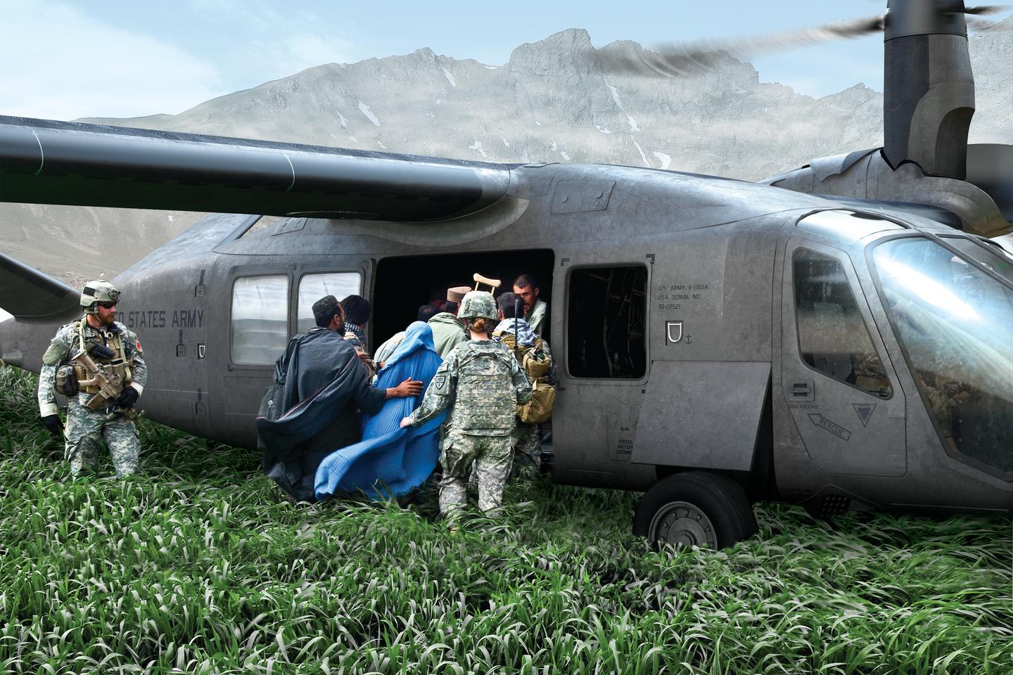 Rendering of the V-280 Valor in rescue operations