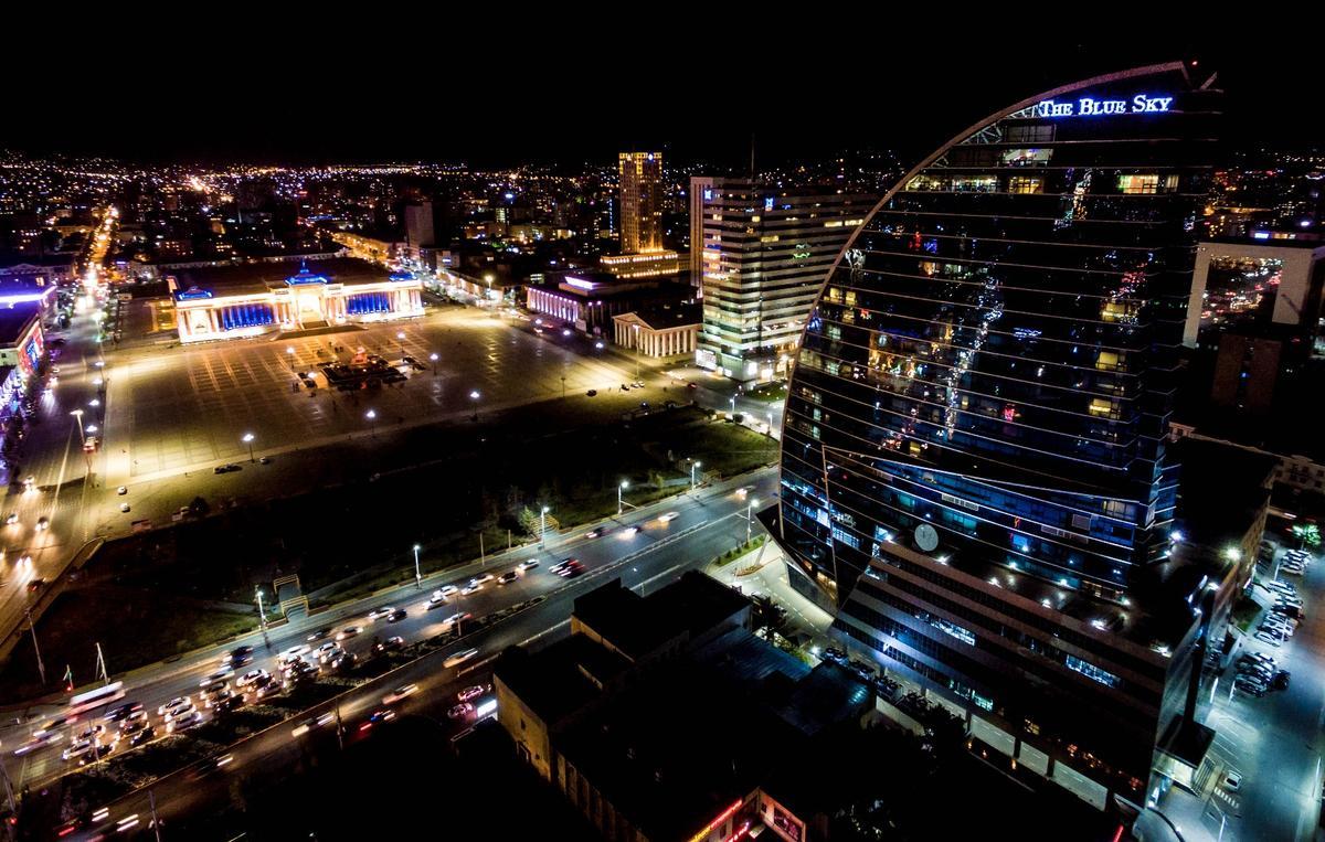 Mongolian capital Ulaanbaataar at night