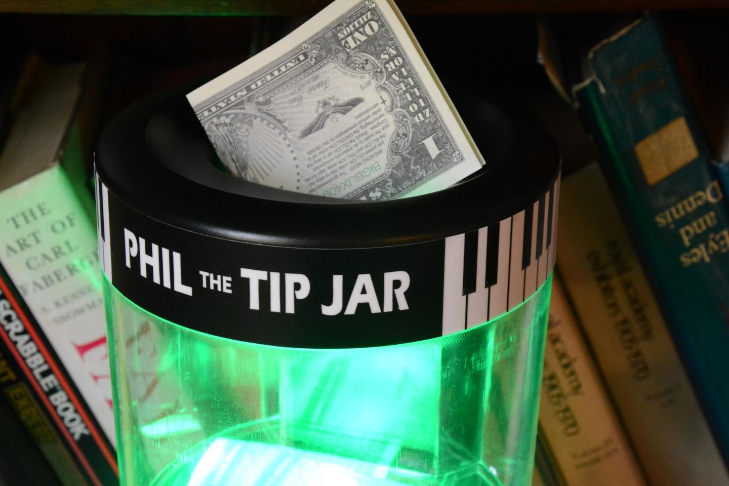Review Phil The Tip Jar A Card Dispensing Tip Jar For Musicians