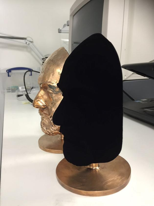The Vantablack coating absorbs so much light that it makes 3D objects appear 2D to the human eye