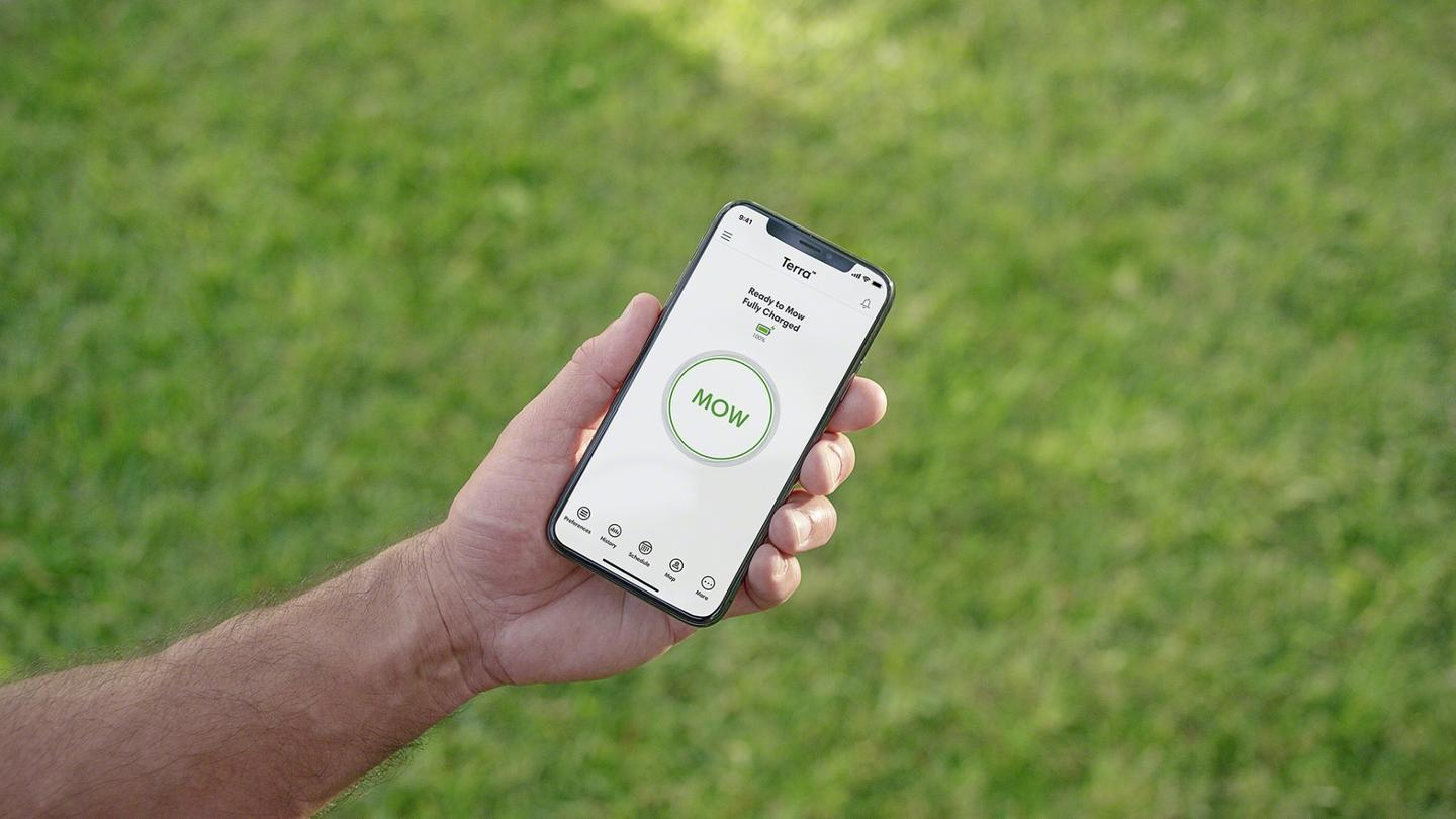 iRobot's Terra robot mower can be wirelessly controlled using the company's Home smartphone app
