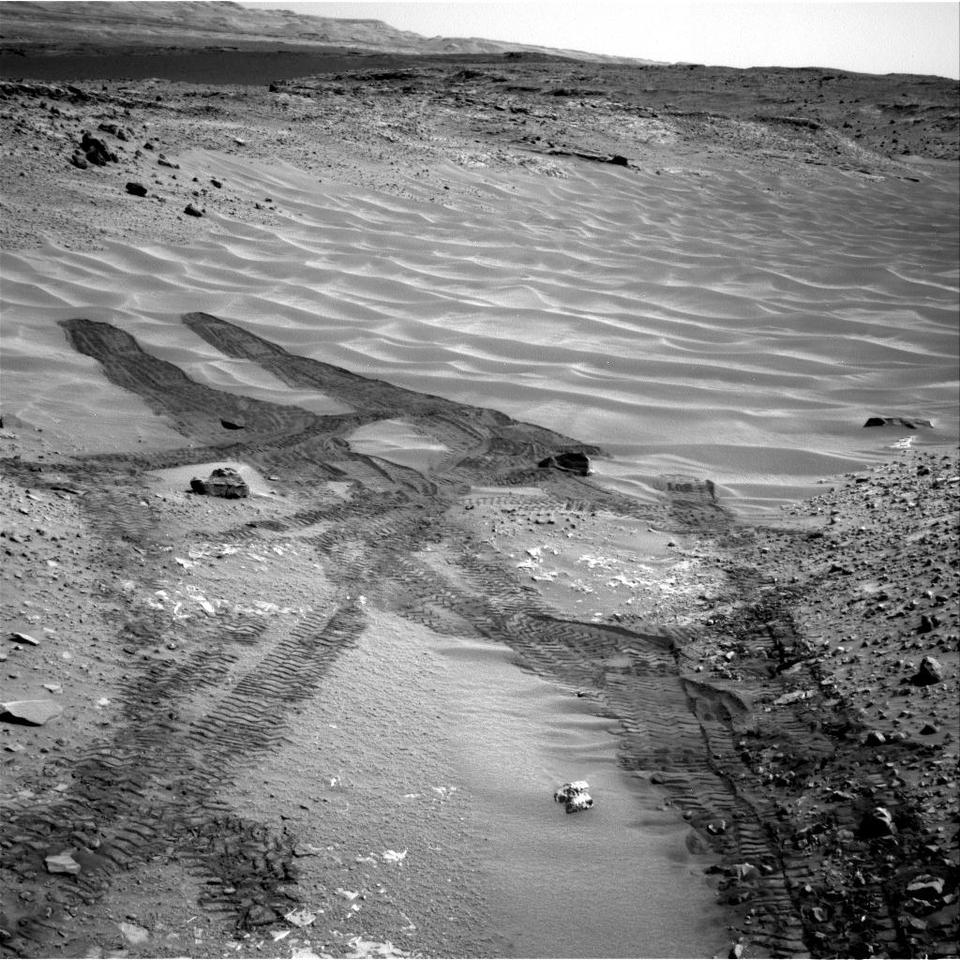 "Curiosity looks down the ramp at the north-eastern end of ""Hidden Valley"" (Image: NASA/JPL-Caltech)"