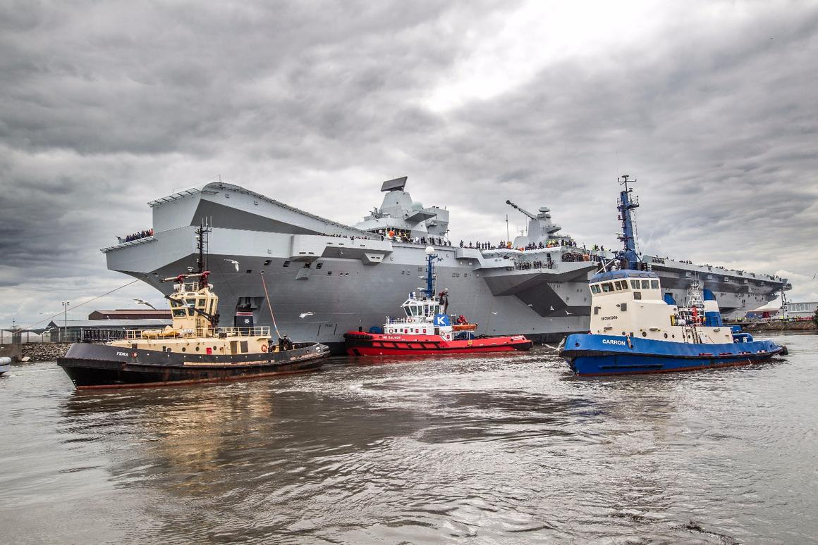 HMS Queen Elizabeth set out to seatoday for the first time