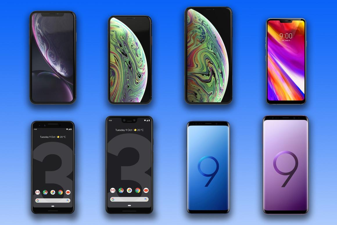 New Atlas compares the specs and features of Apple's iPhone XR, XS and XS Max, LG's G7 ThinQ, Google's Pixel 3 and 3 XL, and Samsung's Galaxy S9 and S9+