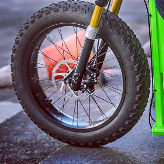 The Moox Bike has beefy 20 x 4-inch tires and heavy-duty mechanical disc brakes