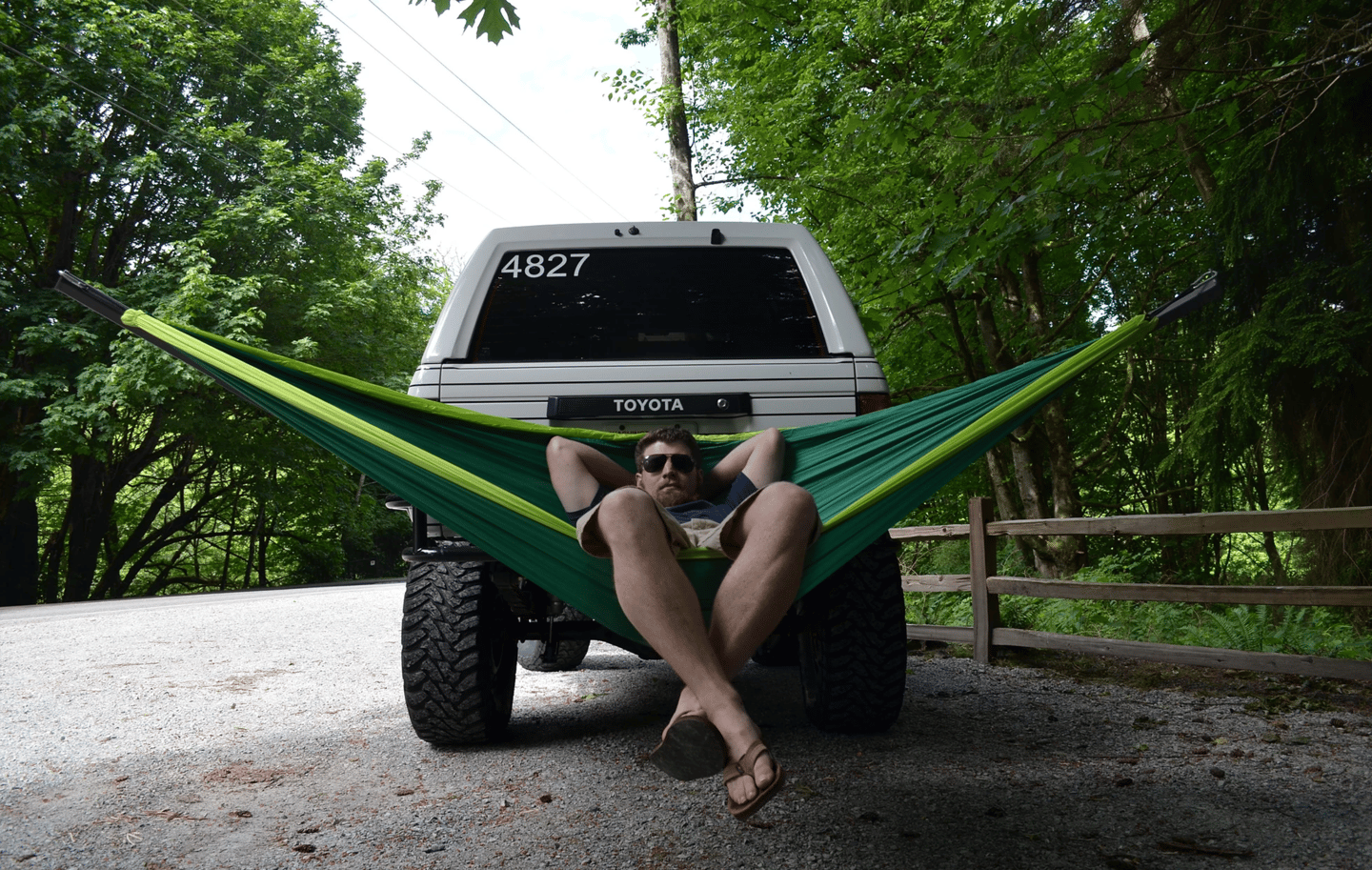 This guy hammocks, and he does it anywhere