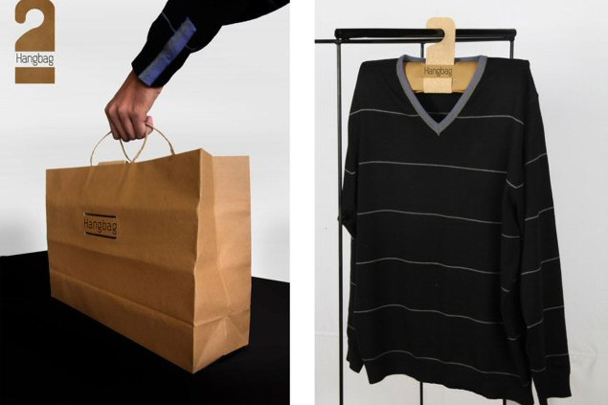 The Hangbag in both its forms, being used to first carry clothes and then to help store them