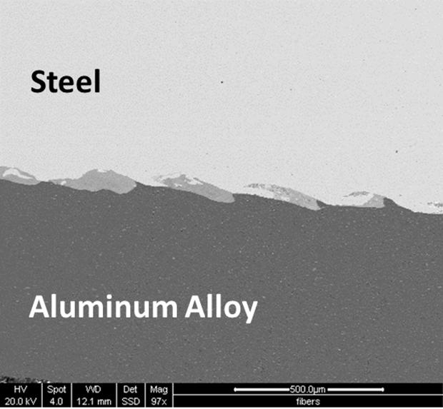 A microscopic view of a steel and aluminum alloy weld, made using the VFA process