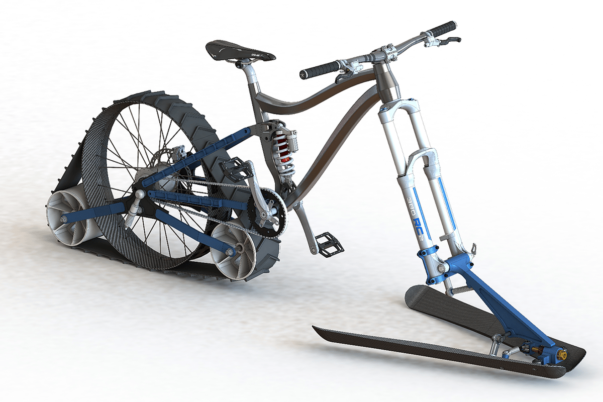The bike uses a rear track drive and front ski setup