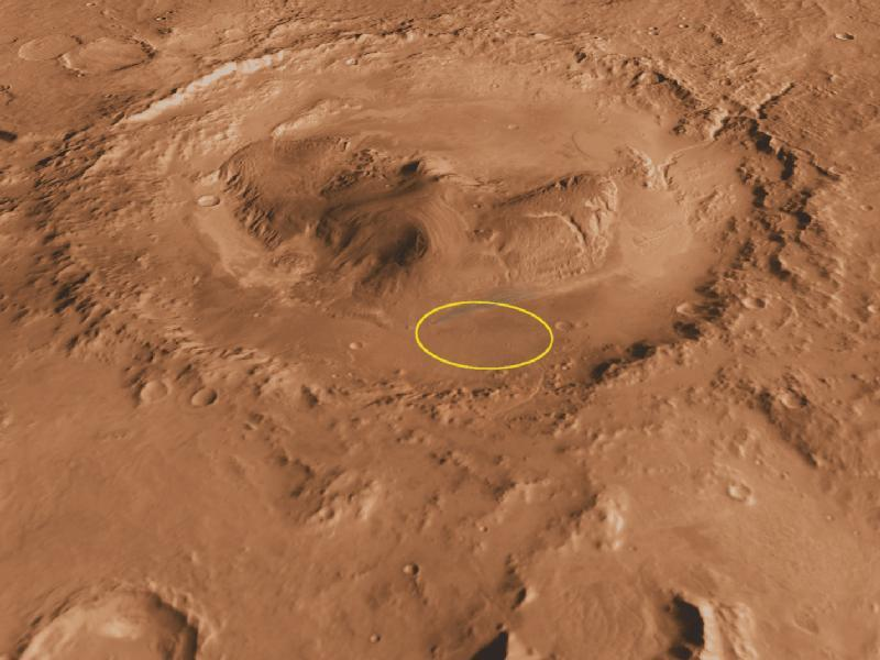 Location of landing site, within the 96-mile (154-km) -diameter Gale Crater(Image: NASA)