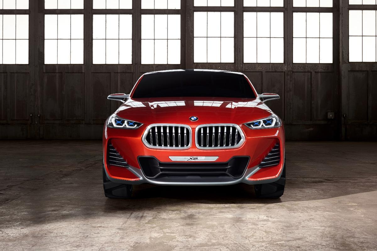 The big grille and headlamps are unique to the X2