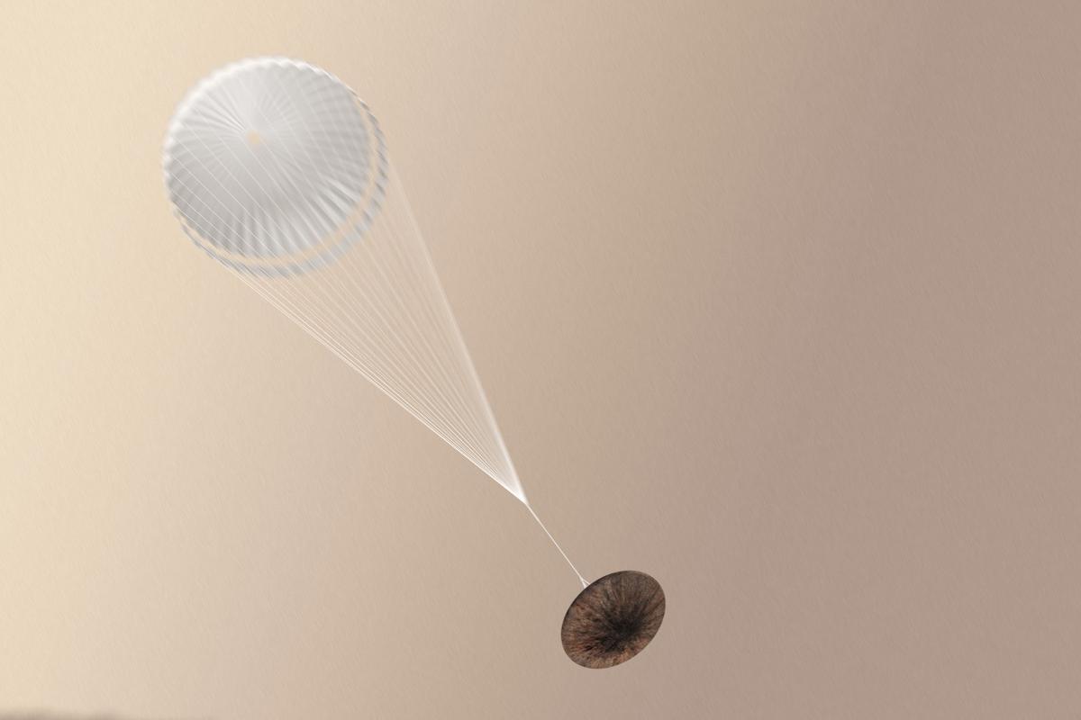 Schiaparelli with parachute deployed