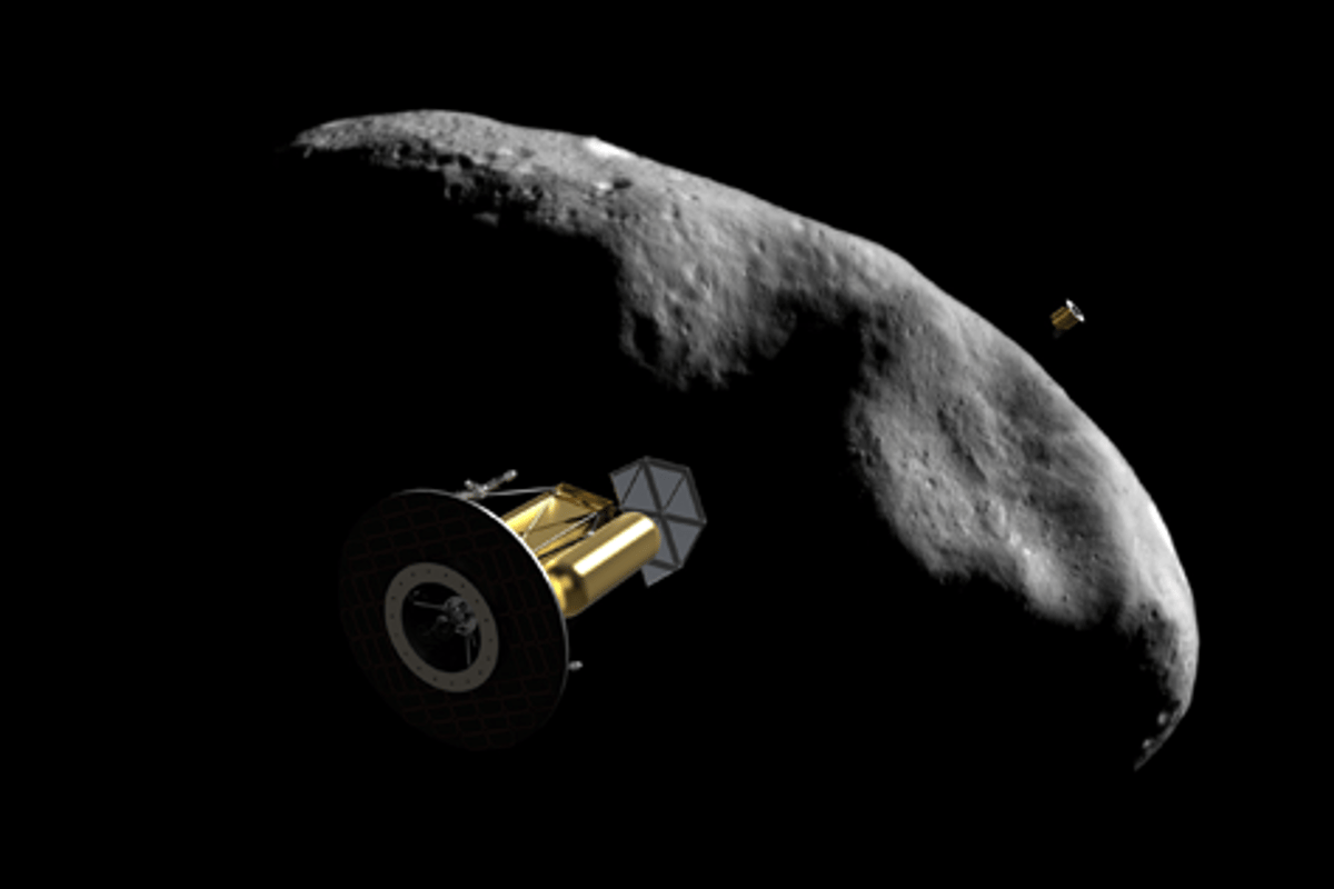 Artists impression of an Arkyd-200 series interceptor passing a candidate asteroid for mining