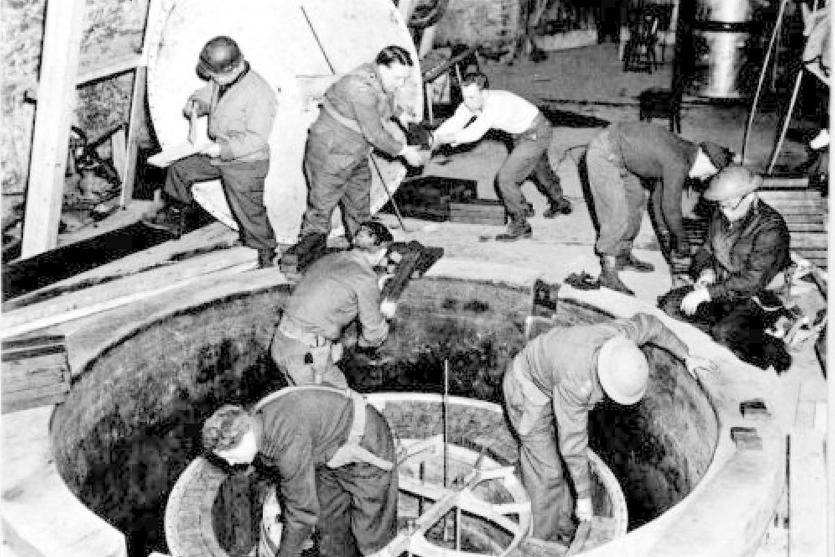 British and American soldiers inspect the Leipzig-IV reactor