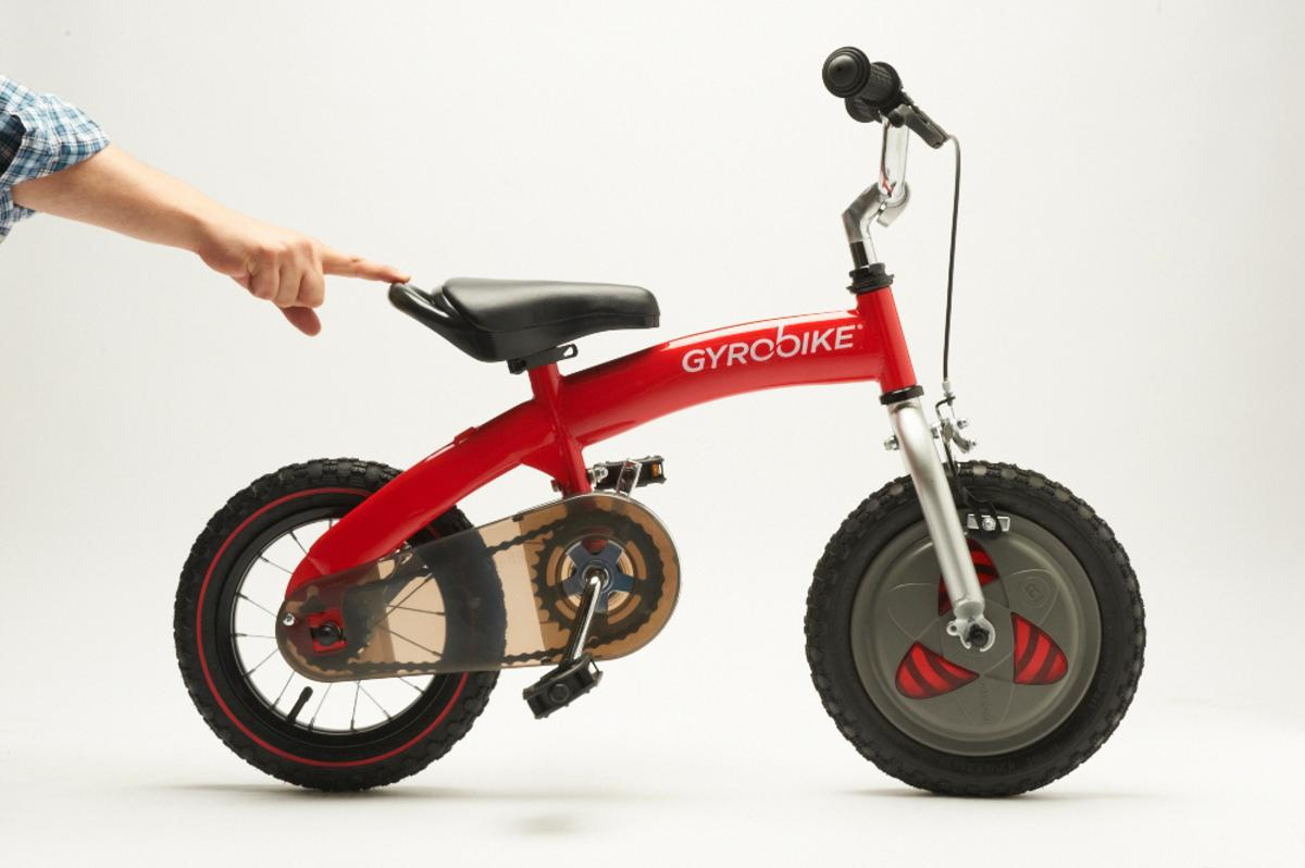 The Gyrobike is a 3-in-1 training system that takes the user from the first experiments with balance, to gyroscope-assisted riding to unassisted solo biking - and its coming to Europe