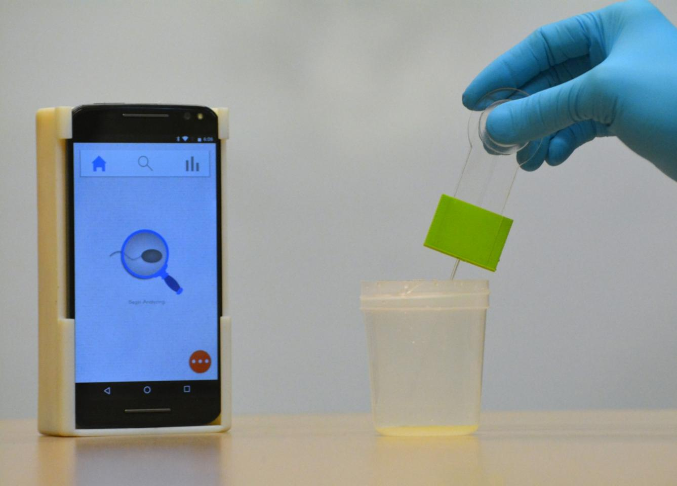 A sample is gathered for analysis in the device