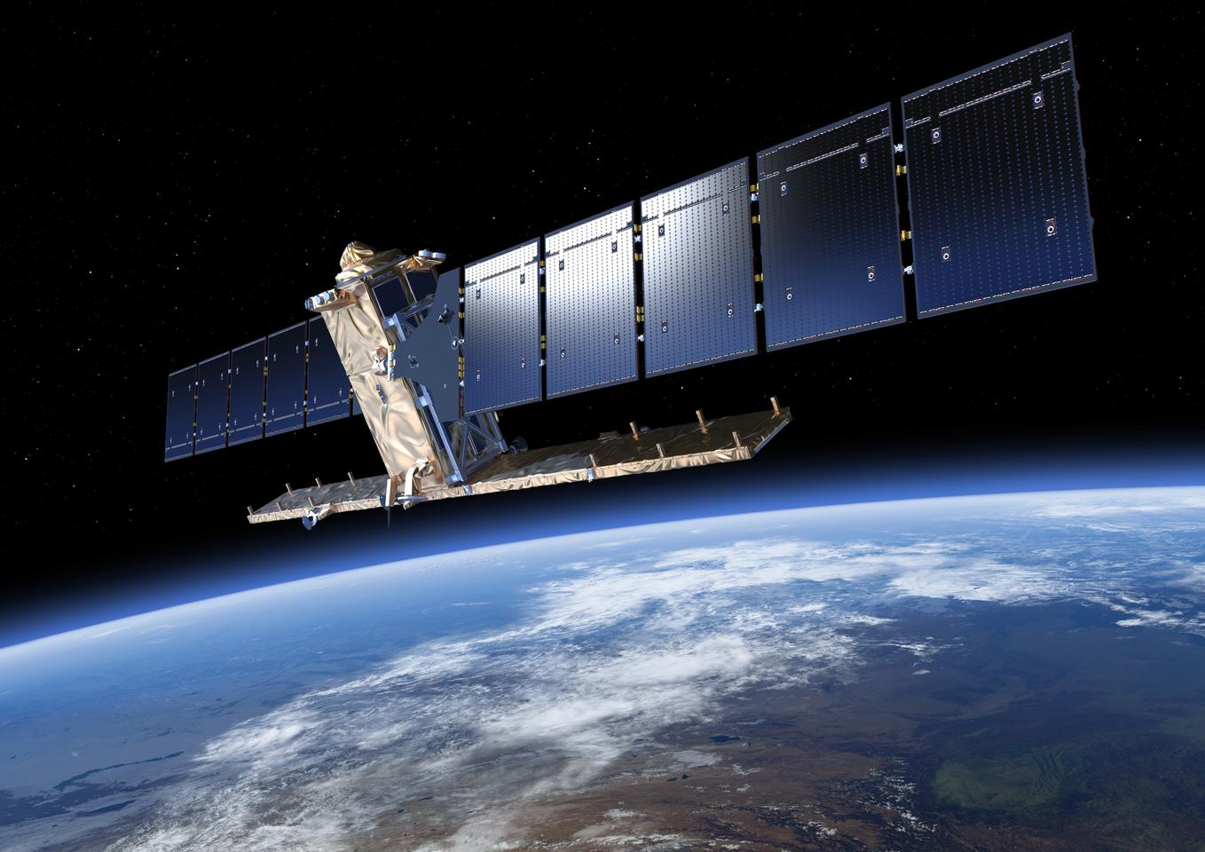 Artists impression of ESA's Sentinel 1A satellite fully unfurled (Image: ESA/ATG medialab)