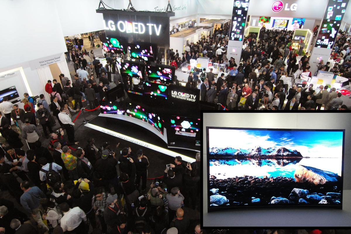 LG (main) and Samsung (inset) have both unveiled curved 55-inch OLED TVs in Las Vegas, which are claimed to offer users a more immersive viewing experience