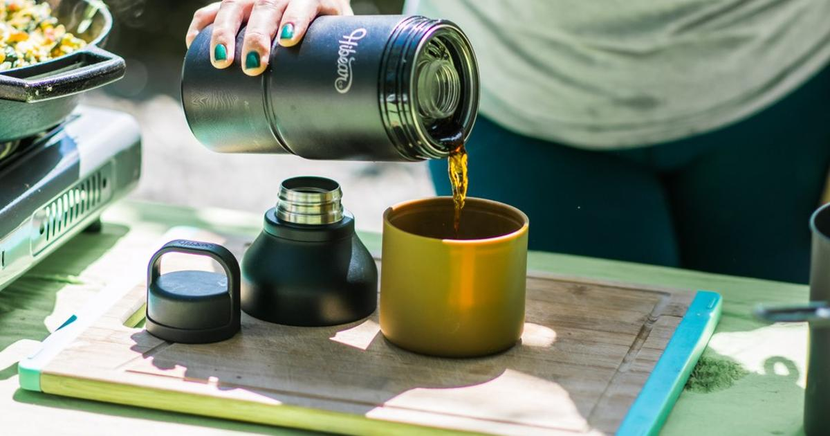 Multitool adventure flask cools water, mixes cocktails, brews coffee