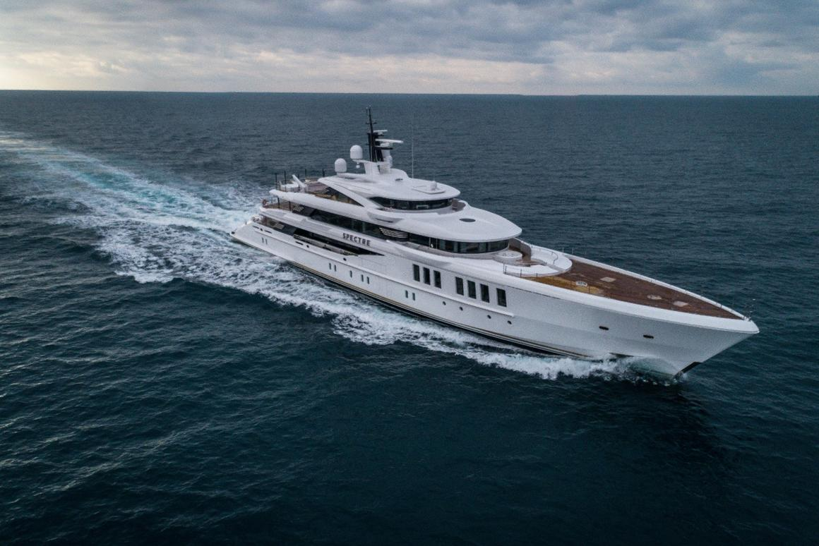 "The M/Y ""Spectre"" combines inspirations from race cars of the 1950s and '60s with a state-of-the-art hull design"