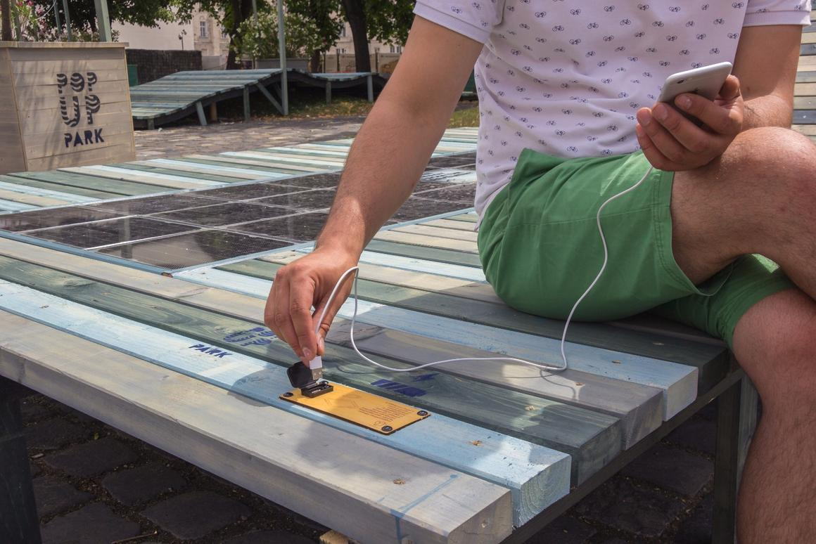 Visitors to a pop-up park in Budapest, Hungary, can now charge their smart devices with energy supplied by Platio solar panels