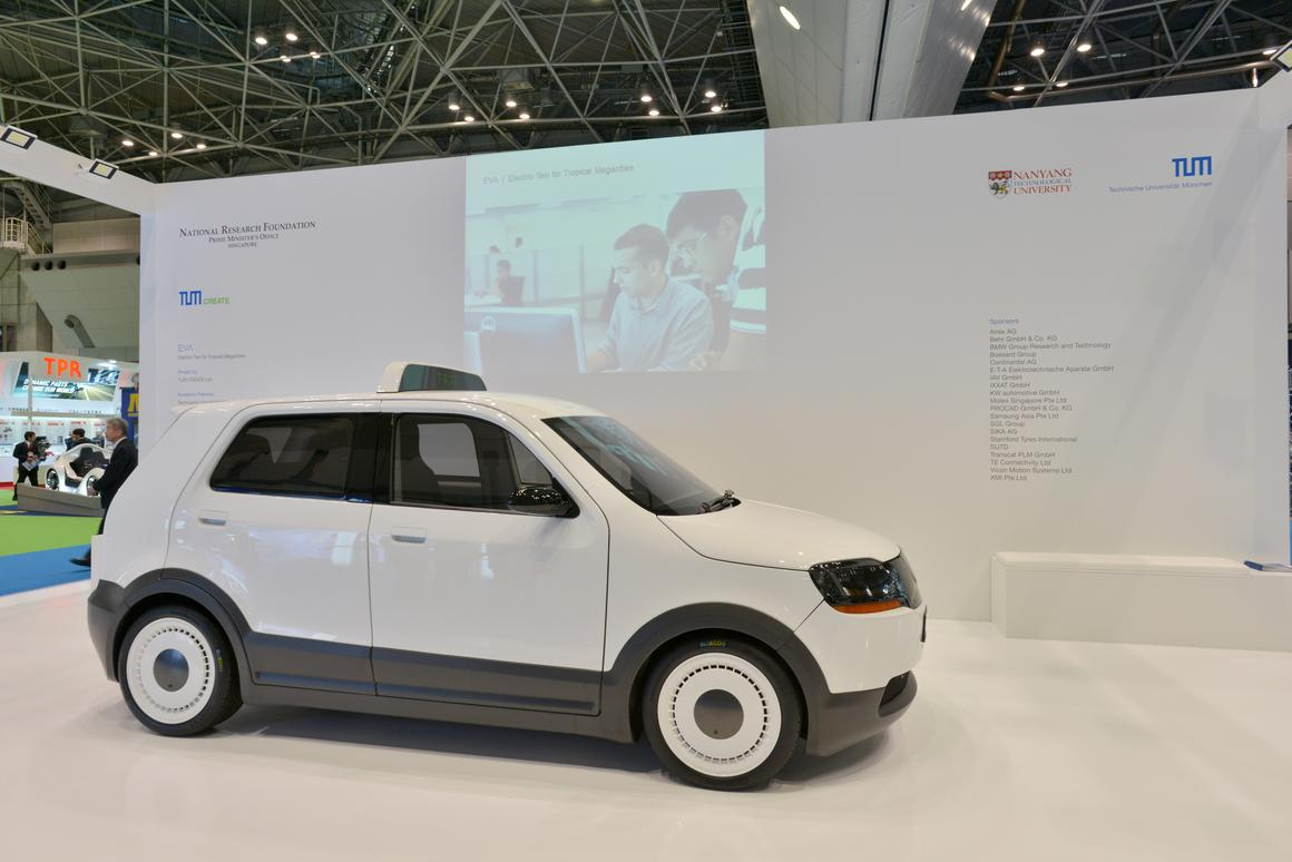 The EVA taxi prototype on display at the Tokyo Motor Show