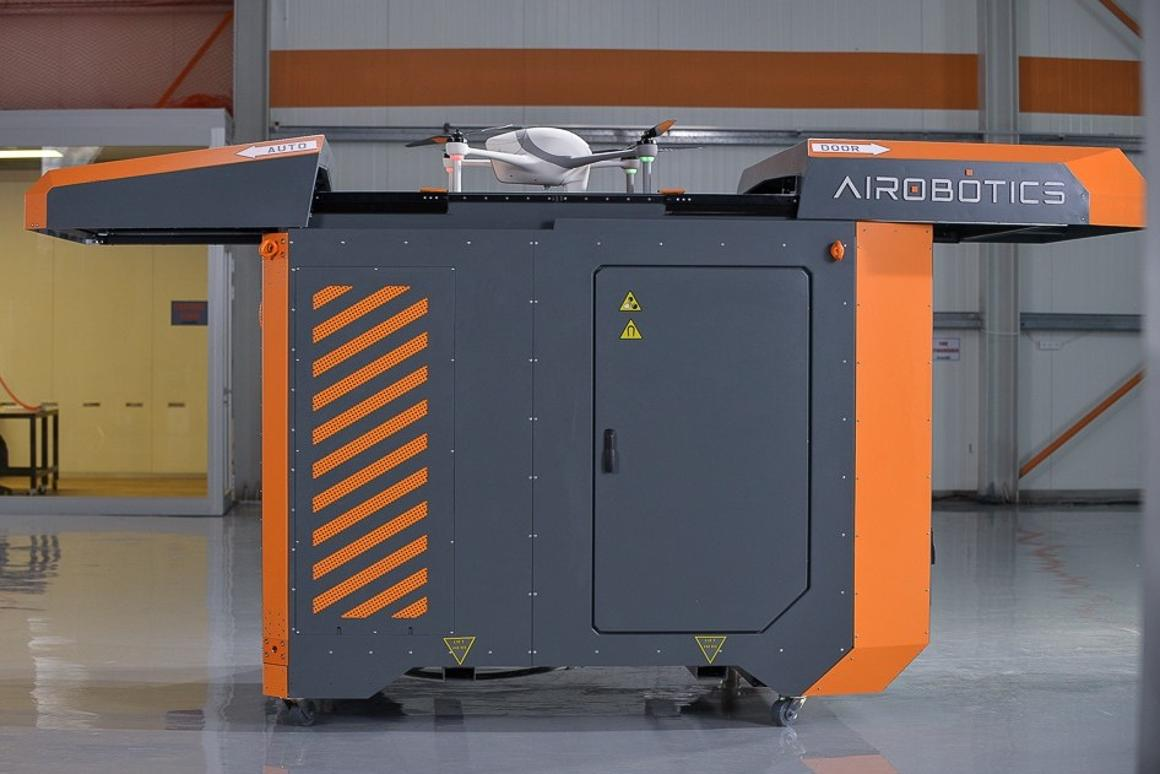 The centerpiece of the Airobotics system is the Airbase, a base station that serves as a launchpad, landing pad and refueling station