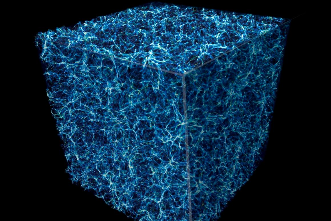 """This simulated image shows a cube slice of the """"cosmic web"""" structure that permeates the cosmos, with blue and white representing galaxies and the darker sections representing voids with very little matter"""