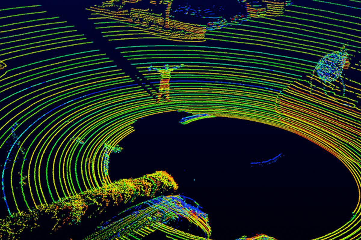 An optical image of the resolution by the Velodyne LiDAR VLS-128 in operation