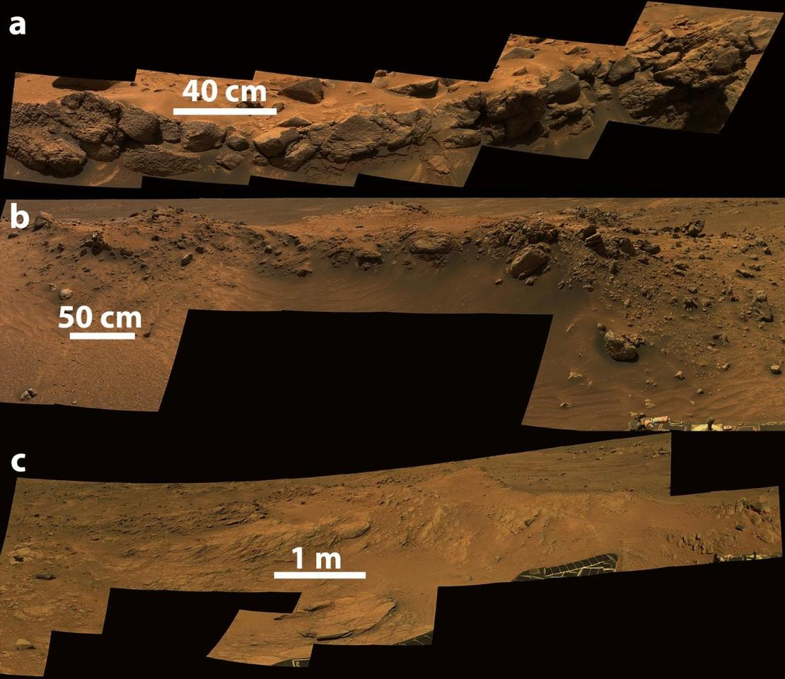 Image captured by Spirit displaying three Cumberland Ridge outcrops: a) Larry's Lookout, b) Jibsheet, and c) Methuselah