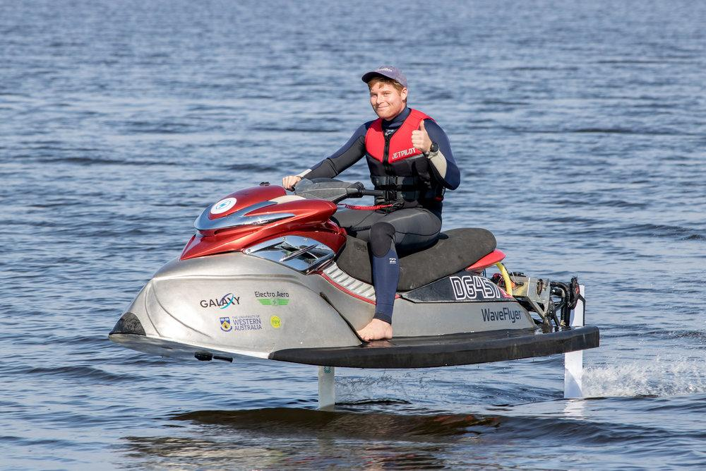 The WaveFlyer can carry two riders for over 30 minutes per trip
