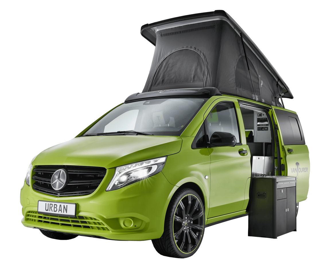Available on Comfort and Prime trims, the removable kitchen block connects to the exterior hookups to cook outdoors or stores away while the owner enjoys a freer MPV