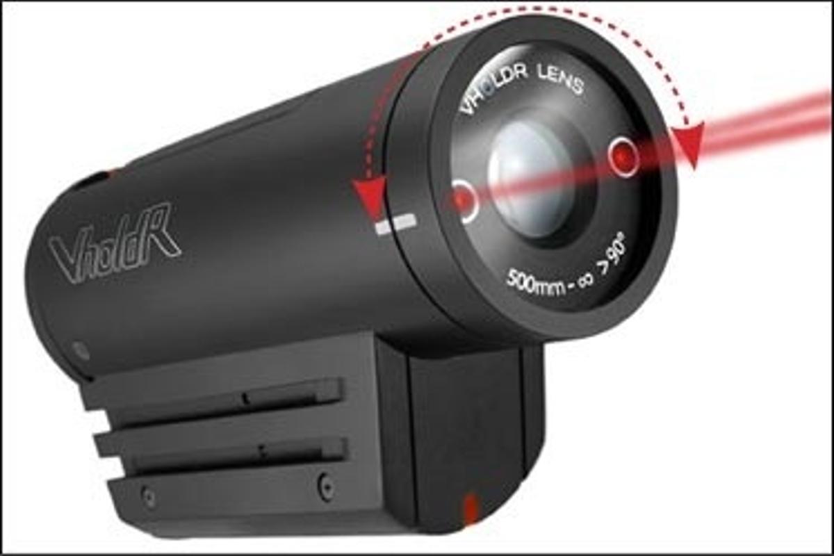The VholdR laser-guided helmet cam