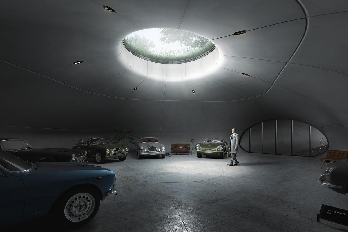 The garage has space for the owner's current collection of eight cars, plus two extra spaces to allow for future acquisitions